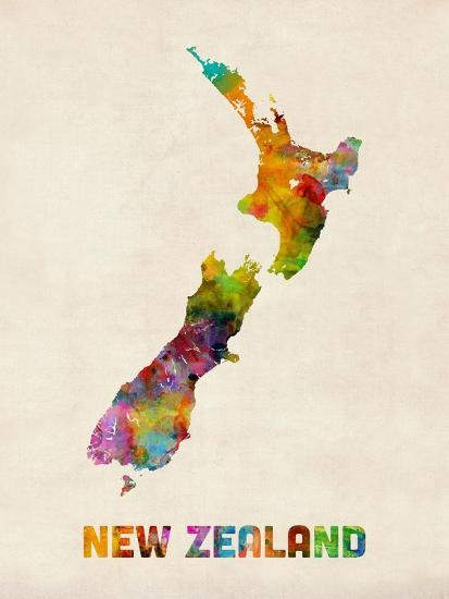 New Zealand, Watercolor Map-Michael Tompsett-Art Print
