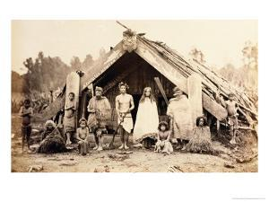 Maori Family, New Zealand, circa 1880s by New Zealander Photographer