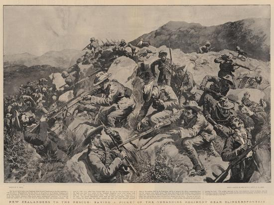New Zealanders to the Rescue, Saving a Picket of the Yorkshire Regiment Near Slingersfontein-William Small-Giclee Print