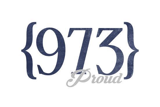 Newark, New Jersey - 973 Area Code (Blue)-Lantern Press-Art Print