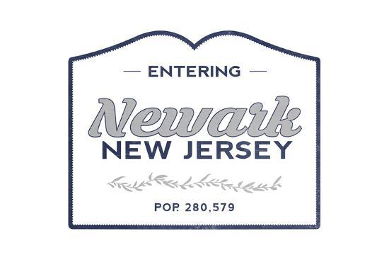 Newark, New Jersey - Now Entering (Blue)-Lantern Press-Art Print