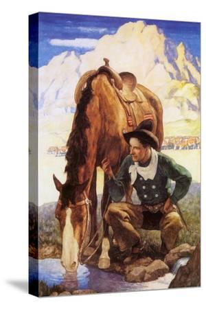 Cowboy Watering His Horse, 1937