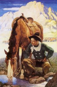 Cowboy Watering His Horse, 1937 by Newell Convers Wyeth