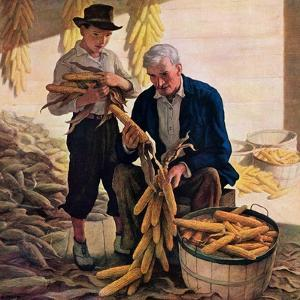 """""""Drying Field Corn,""""November 1, 1944 by Newell Convers Wyeth"""