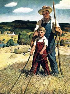 """""""Father and Son on Hay Wagon,""""June 1, 1944 by Newell Convers Wyeth"""