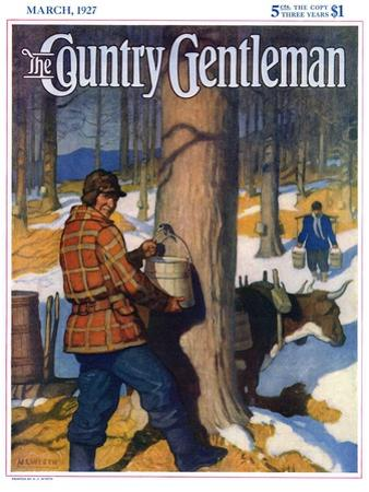 """""""Gathering Maple Syrup,"""" Country Gentleman Cover, March 1, 1927 by Newell Convers Wyeth"""