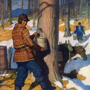 """Gathering Maple Syrup,""March 1, 1927 by Newell Convers Wyeth"