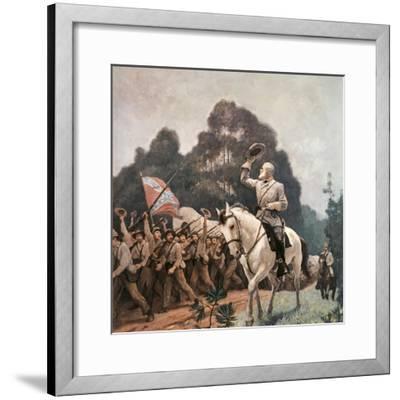 General Robert Lee Saluting Troops Heading to Front