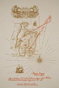 Map of Treasure Island, an illustration from 'Treasure Island' by Robert Louis Stevenson by Newell Convers Wyeth