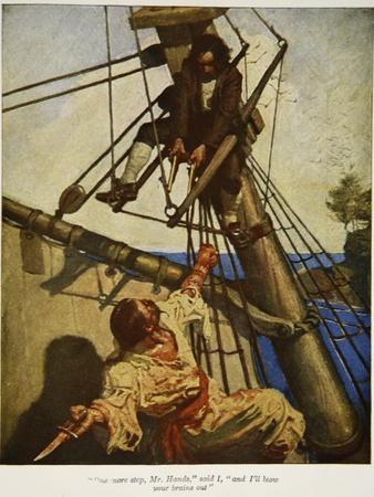 """""""One more step, Mr. Hands � and I'll blow your brains out"""", Illustration from 'Treasure Island"""