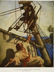 """""""One more step, Mr. Hands � and I'll blow your brains out"""", Illustration from 'Treasure Island by Newell Convers Wyeth"""