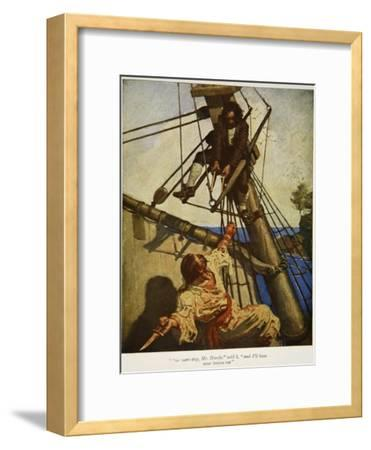 """""""One more step, Mr. Hands ? and I'll blow your brains out"""", Illustration from 'Treasure Island"""