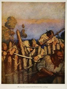 The boarders swarmed over the fence like monkeys, an illustration from 'Treasure Island' by Robert  by Newell Convers Wyeth