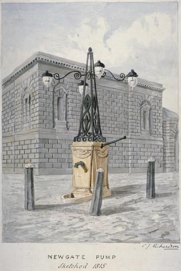 Newgate Pump, Old Bailey with Newgate Prison in the Background, City of London, 1815-Charles James Richardson-Giclee Print