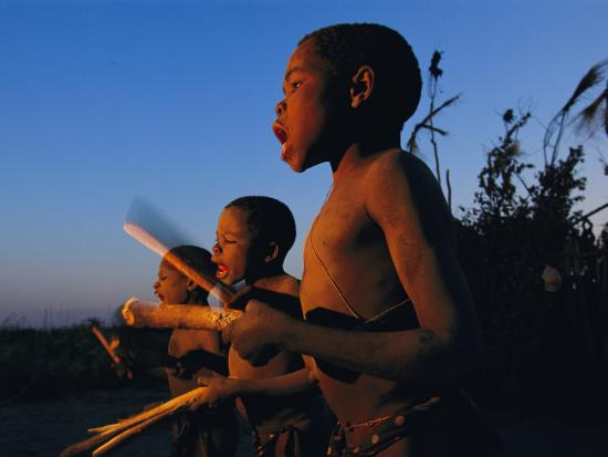 Newly Circumcised Boys from the Luvale Tribe Greet the Dawn-Chris Johns-Photographic Print