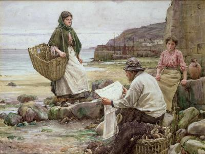 Newlyn: Catching Up with the Cornish Telegraph-Walter Langley-Giclee Print