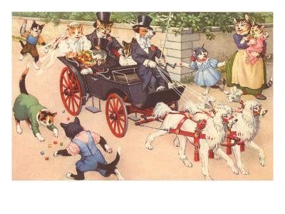 Newlywed Cats in Carriage--Art Print