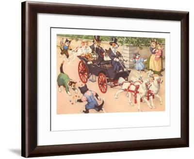 Newlywed Cats in Carriage--Framed Art Print