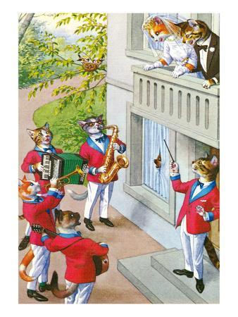 Newlywed Cats Serenade--Art Print