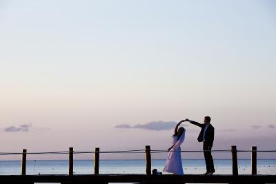 Newlyweds Practice for their First Dance after their Beach Wedding on the Island of Cozumel-Michael Lewis-Photographic Print