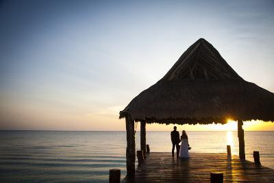 Newlyweds Watch the Sunset after their Beach Wedding on the West Coast of Cozumel Island-Michael Lewis-Photographic Print