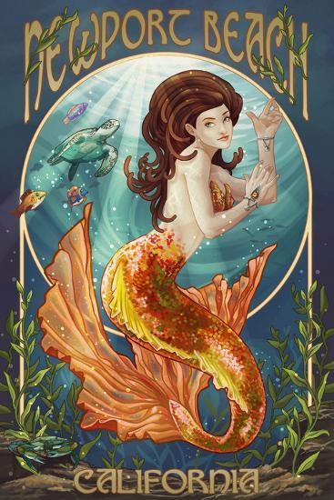 Newport Beach, California - Mermaid-Lantern Press-Wall Mural