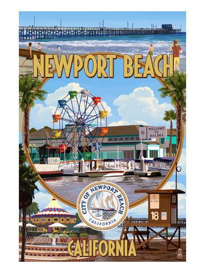 Newport Beach, California - Newport Beach Montage-Lantern Press-Art Print