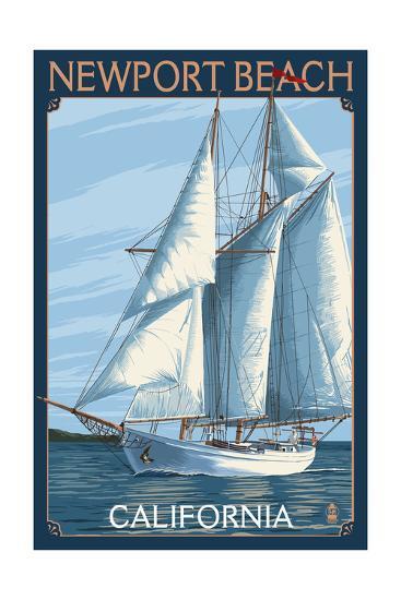 Newport Beach, California - Sailboat-Lantern Press-Art Print