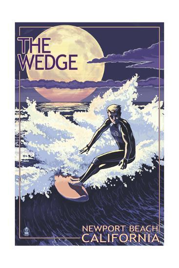 Newport Beach, California - Surfing the Wedge-Lantern Press-Art Print