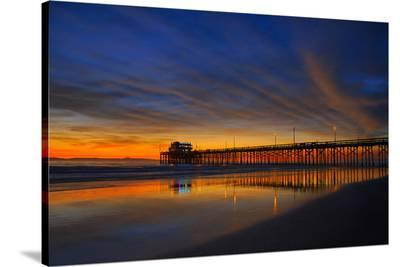 Newport Beach Pier at Sunset--Stretched Canvas Print
