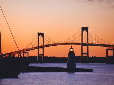 Newport Bridge and Harbor at Sunset, Newport, Rhode Island, USA-Fraser Hall-Photographic Print
