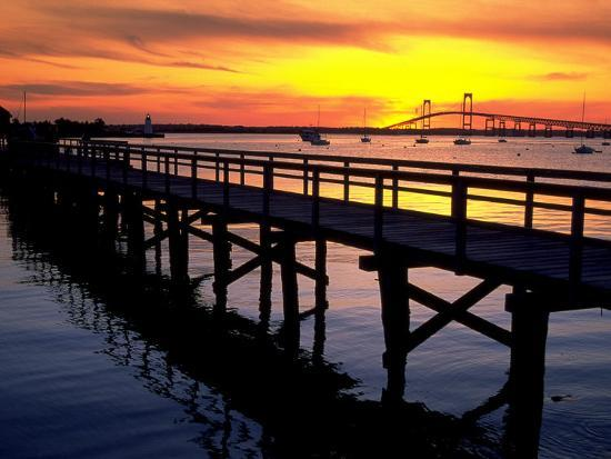 Newport Harbor and Newport Bridge, RI-James Lemass-Photographic Print
