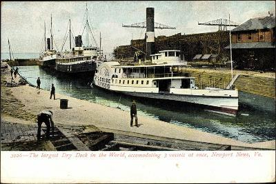 Newport News Virginia, Dry Dock, Steamer Louise--Giclee Print