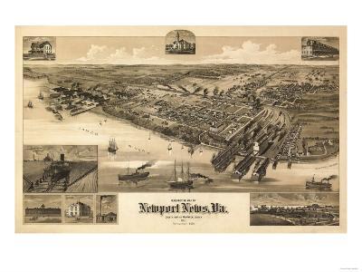Newport News, Virginia - Panoramic Map-Lantern Press-Art Print