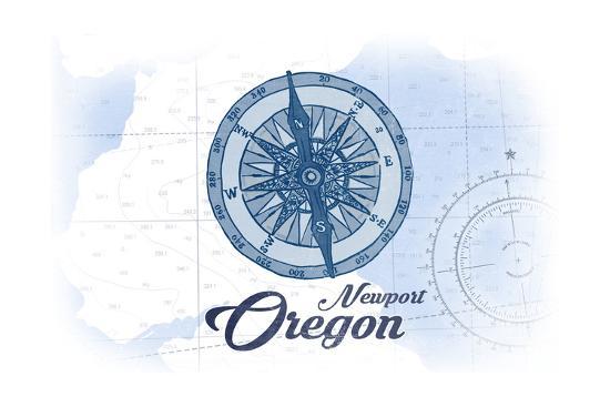 Newport, Oregon - Compass - Blue - Coastal Icon-Lantern Press-Art Print