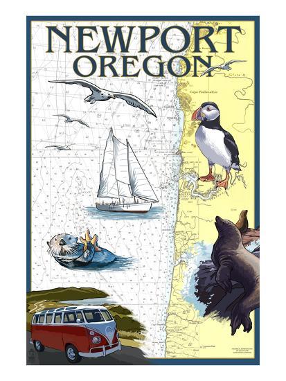 Newport, Oregon - Nautical Chart-Lantern Press-Art Print