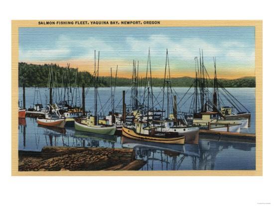 Newport, Oregon - Salmon Fishing Fleet in Yaquina Bay-Lantern Press-Art Print