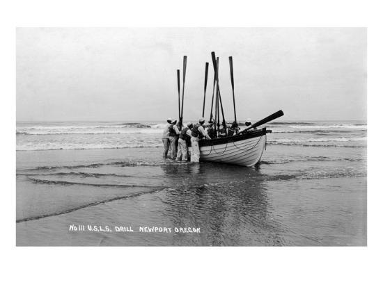 Newport, Oregon - US Lifeguard Drill on the Beach-Lantern Press-Art Print