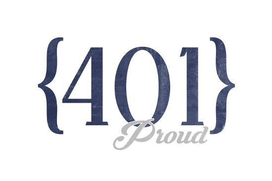 Newport, Rhode Island - 401 Area Code (Blue)-Lantern Press-Art Print