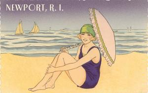 Newport, Rhode Island, Girl on Beach with Parasol