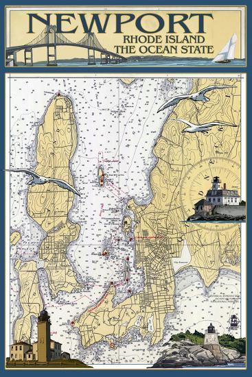 Newport, Rhode Island Nautical Chart-Lantern Press-Wall Mural