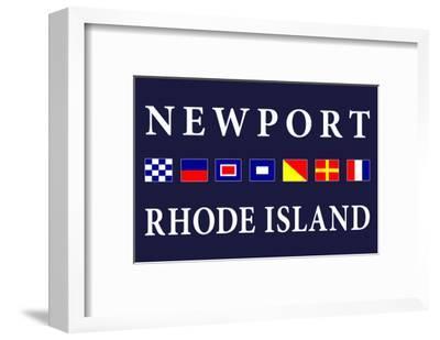 Newport, Rhode Island - Nautical Flags-Lantern Press-Framed Art Print