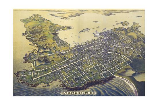 Newport, Rhode Island - Panoramic Map (#2)-Lantern Press-Art Print