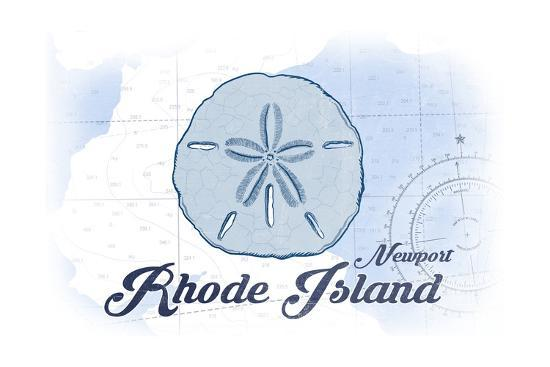 Newport, Rhode Island - Sand Dollar - Blue - Coastal Icon-Lantern Press-Art Print
