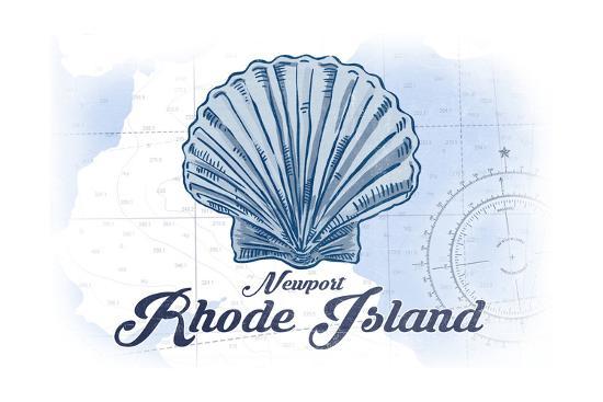 Newport, Rhode Island - Scallop Shell - Blue - Coastal Icon-Lantern Press-Art Print