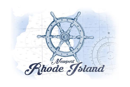 Newport, Rhode Island - Ship Wheel - Blue - Coastal Icon-Lantern Press-Art Print