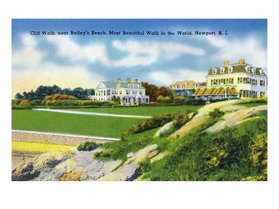 Newport, Rhode Island - View of Cliff Walk Near Bailey's Beach, c.1935-Lantern Press-Art Print