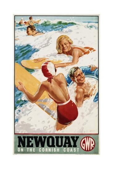 Newquay on the Cornish Coast Poster-Alfred Lambart-Giclee Print