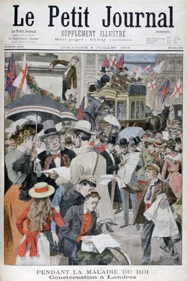 News of King Edwards VII's Illness in London, 1902--Giclee Print