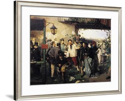News of Peace of Villafranca-Domenico Induno-Framed Giclee Print